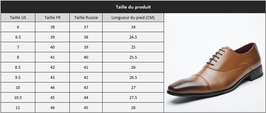 Chaussure bout pointu taille