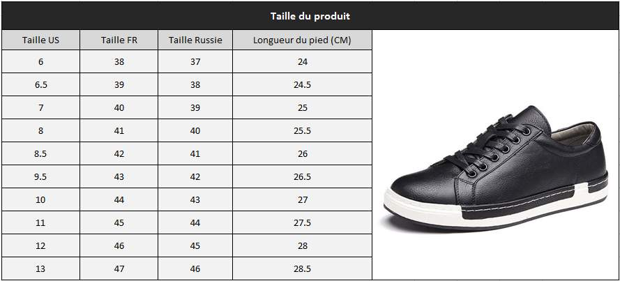 Chaussures mode homme taille