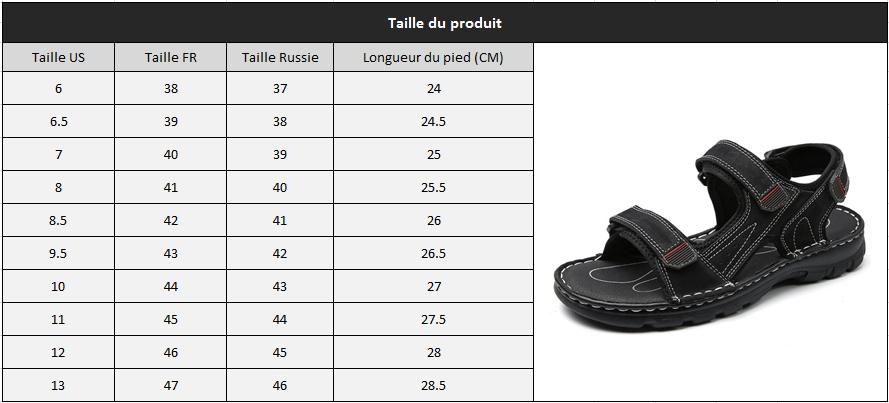 Sandale homme confortable taille