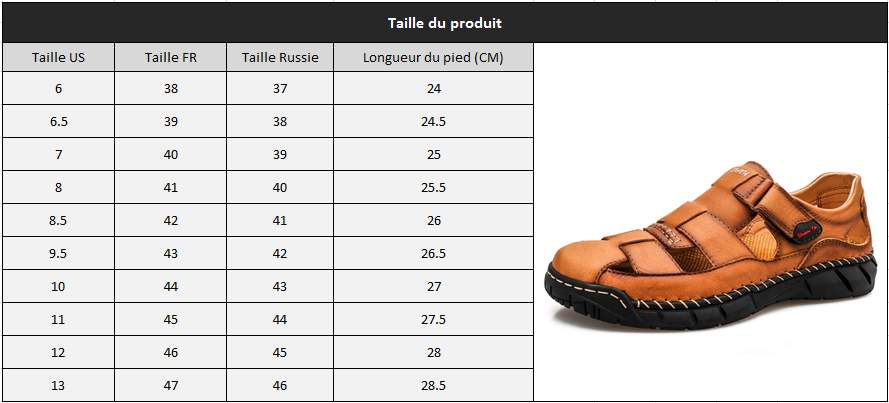 Sandale homme cuir taille