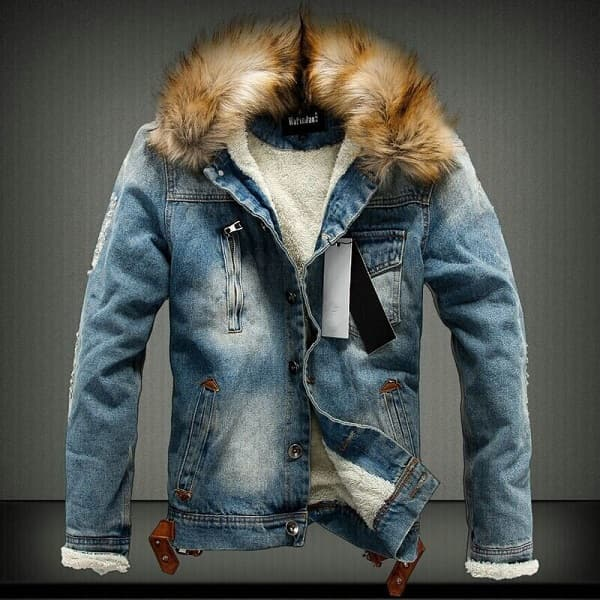 Veste en jean fourrure mode