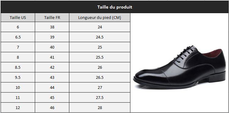 Chaussure en cuir homme taille