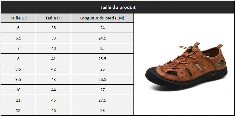Sandale decontractee homme taille