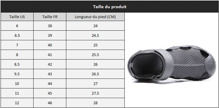 Sandale homme tendance taille 34